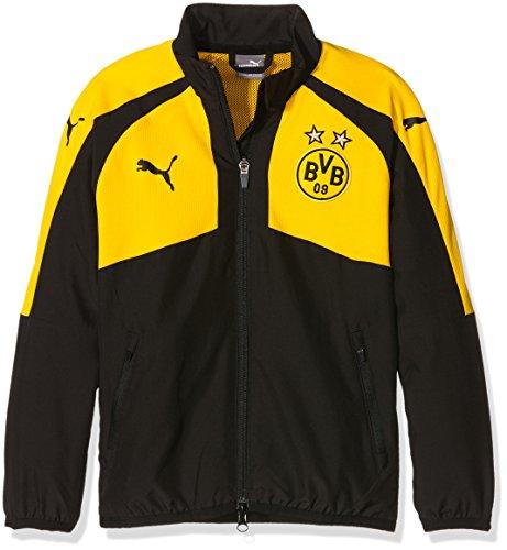 PUMA - Chaqueta Tejida para niños, con diseño del Equipo Borussia Dortmund BVB 'Casual Performance', Infantil, Jacke BVB Casuals Performance Woven Jacket, Negro/Amarillo, 128
