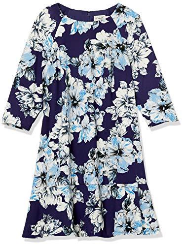 Eliza J Women's Plus Size Floral Drop Waist Dress Casual, Navy/Blue, 20