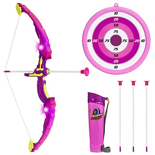 Click N' Play Pink Light Up Bow and Arrow Archery Set for Girls Outdoor Hunting Play with 3 Suction Cups Arrows Target and Quiver