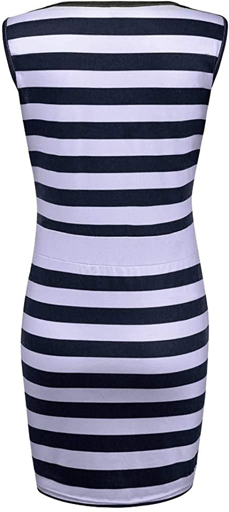 Kirbaez Womens Summer Casual Sleeveless Stripes Bodycon Mini Tank Dress Beach Sundress Evening Party Cocktail