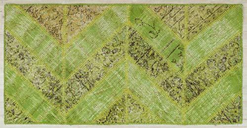 Alfombra turca de lana hecha a mano de patchwork verde 5356 Ölçü; 080x150
