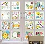 Easter Home Decorations Window Clings Sticker Extra Large Easter Bunny Easter Eggs Window Stickers Easter Decorations for Home,Office,Kids,Shop,9 Sheets 120 PCS