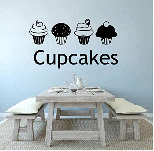 YFKSLAY Väggklistermärken och väggmålning kakor väggklistermärken vinyl avtagbar söt kök catering butik logo tårta design väggdekaler art deco butik 57 x 32 com