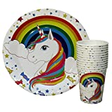 PEPUP Unicorn Paper Plates and Cups (Set of 12 Each) Birthday Party Disposable Tableware