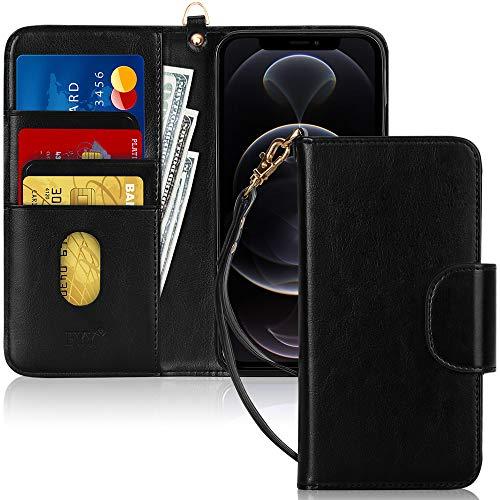 """FYY Etui Coque iPhone 12/iPhone 12 Pro, [Fonction Kickstand] Étui en Cuir PU pour Portefeuille avec [Fentes pour Cartes] et [Pochettes] pour Apple iPhone 12/12 Pro 6.1"""" 2020 Noir"""