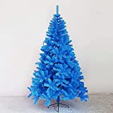 ASDF Árbol de Navidad, árbol artificial, árbol de Navidad artificial, árbol de Navidad de lujo con soporte de metal plegable para decoración del hogar (color: azul; tamaño: 2,4 m)