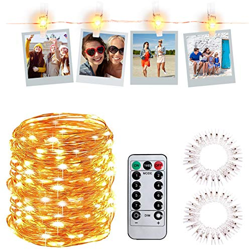 LED Foto Clip Lichterketten,10M 100 LED Fotoclips Lichterkette USB mit Fernbedienung, Lichterkette mit 50 Klammern für Fotos Wand, Bilderrahmen Dekor, Hochzeit, Schlafzimmer, 8 Beleuchtungsmodi (10M)