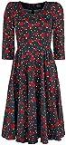 H&R London Red Roses Mujer Vestidos de Longitud Media Negro L, 97% algodón, 3%...