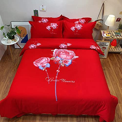 Bedclothes-Blanket Juego de sabanas Infantiles Cama 90,Conjunto de Cuatro Rosas Rojas.-Norte_1,8 m de Cama (20 Series de 200 * 230cm)