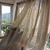 Tenda Effetto Lino (1 Pannello) Stile Minimalista Nordico Soggiorno Camera da Letto Decorazione della Tenda da Pavimento Semi-ombreggiata Installazione del punzone (Grigio),180x240cm