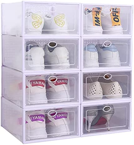 CLJLG 8 Pack Shoe Boxes Box Plastic Storage Clear Stackable El Paso Mall Attention brand