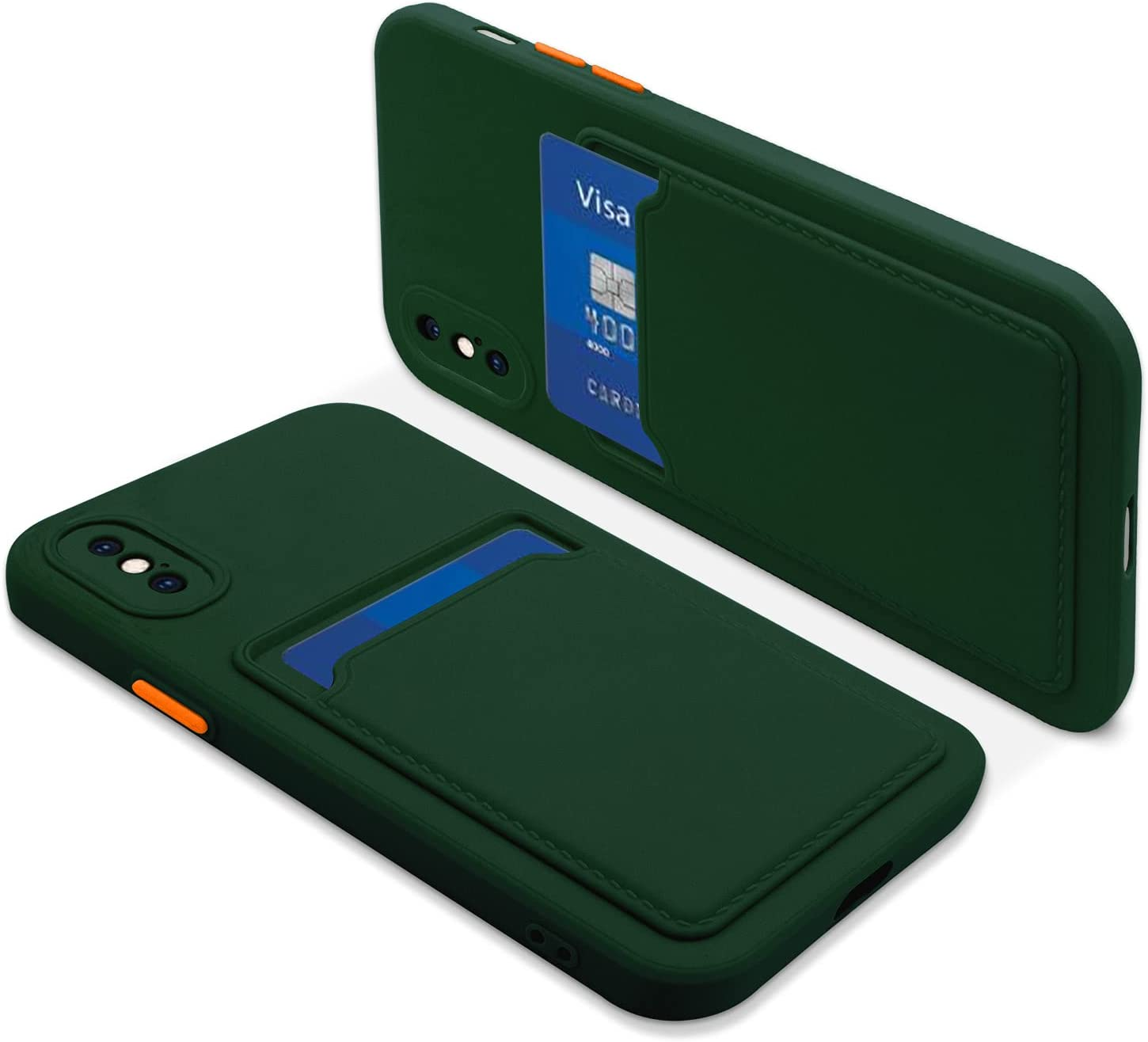 Naiadiy Silicone Card Case Compatible with iPhone Xs Max 6.5 Inch - Dark Green