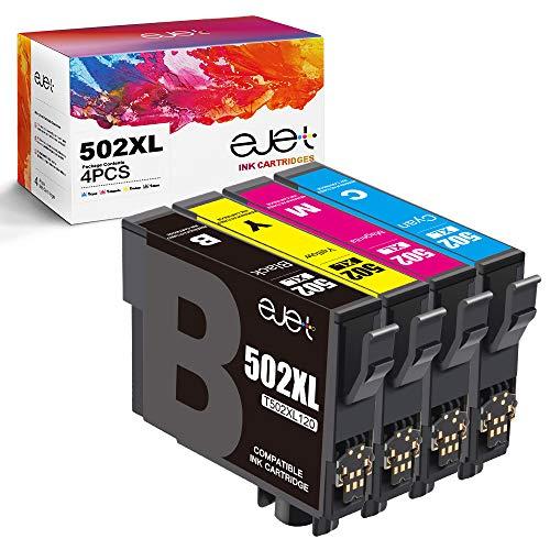 ejet 502XL Tintenpatronen Ersatz für Epson 502-XL Tinte für Epson Expression Home XP-5105 XP-5100 Workforce WF-2860DWF WF-2865DWF XP5105 WF-2860 Drucker (1 Schwarz/Cyan/Magenta/Gelb, 4er-Pack)