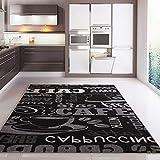 VIMODA Teppich Coffee Design Modern Kaffee Muster in Schwarz, Maße:120x170 cm