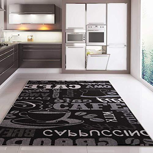 VIMODA Teppich Coffee Design Modern Kaffee Muster in Schwarz, Maße:80x150 cm
