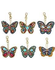 XMYNB Butterfly Diamond Painting Keychain, 6 stks 5D DIY volledige boor speciale gevormde diamant schilderij kits voor kinderen en volwassenen beginners voor kerst hanger, tassen, smartphone riemen, kerst strass