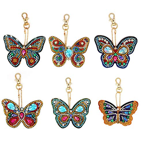 5D DIY Diamond Painting Keyring Kits Full Drill Special Shaped, Stick Paint with Diamonds by Numbers Easy to DIY Keychain Pendant Kits for DIY Art Craft (6pcs Butterfly)
