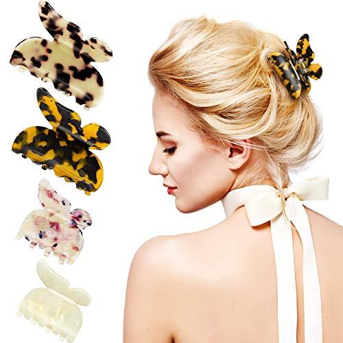 4 Stücke Acryl Schmetterling Klaue Haarspangen Leopard Haarspangen Mehrfarbig Schildkröte Klaue Französisch Haarklammern Damen und Mädchen Haarschmuck