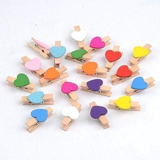 JJSFJH 1 Pcs Multicolor Mini Love Wood Clip Notes Clothes Photo Wall Decoration Clip Spring DIY Decoration Clip