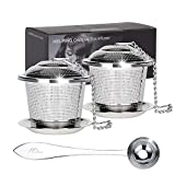 Numola Reusable Stainless Steel Tea Balls, Loose Leaf Tea Infuser Set, Fine Mesh Sieve Tea Strainers with Spoon and Drip Trays, Tea Filters and Steeper with Extented Chain Hook for Tea Lovers (Silver)