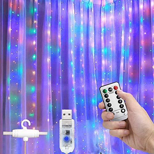 AndThere Luces de Cortina 300 LED Guirnaldas Luminosas USB Luces de Hada 3x3m Cortina Luces LED con Control Remoto Luz de Cortina para Ventanas Balcón Partido Día de San Valentín Navidad Bodas