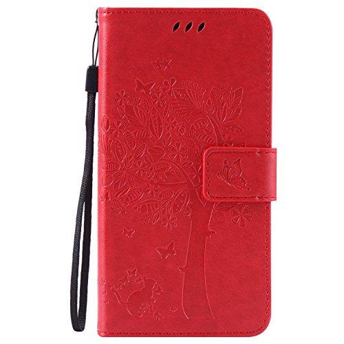 Lomogo LG G3 Hülle Leder, Schutzhülle Musterprägung Brieftasche mit Kartenfach Klappbar Magnetverschluss Stoßfest Kratzfest Handyhülle Case für LG G3 (D855) - EKATU23760 Rot