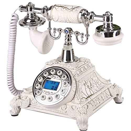 Telepho Festnetzanschluss, Retro-Stil Festnetztelefon mit klassischem Festnetztelefon und Drehknopfnummern, in verschiedenen Farben und Stilen erhältlich (Farbe : Silver-c)