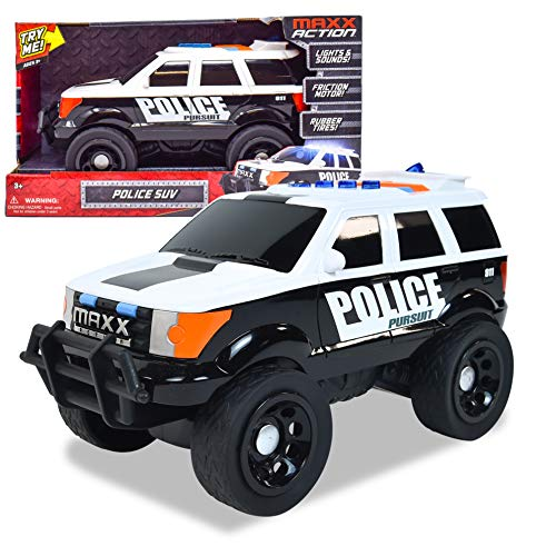 Sunny Days Entertainment Large Police Car – Lights and Sounds Vehicle with Motorized Drive and Soft Grip Tires | Rescue SUV Patrol Toy for Kids – Maxx Action (320174)