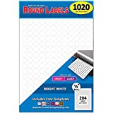 Pack of 1020 1/2' Round Circle Dot Labels, White, 8 1/2' x 11' Sheet, Fits Any Printer