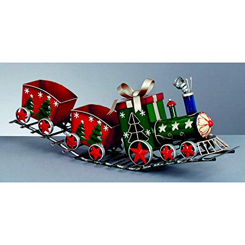Metall Weihnachten Zug mit 2?Wagons auf einem Track 76?cm rot