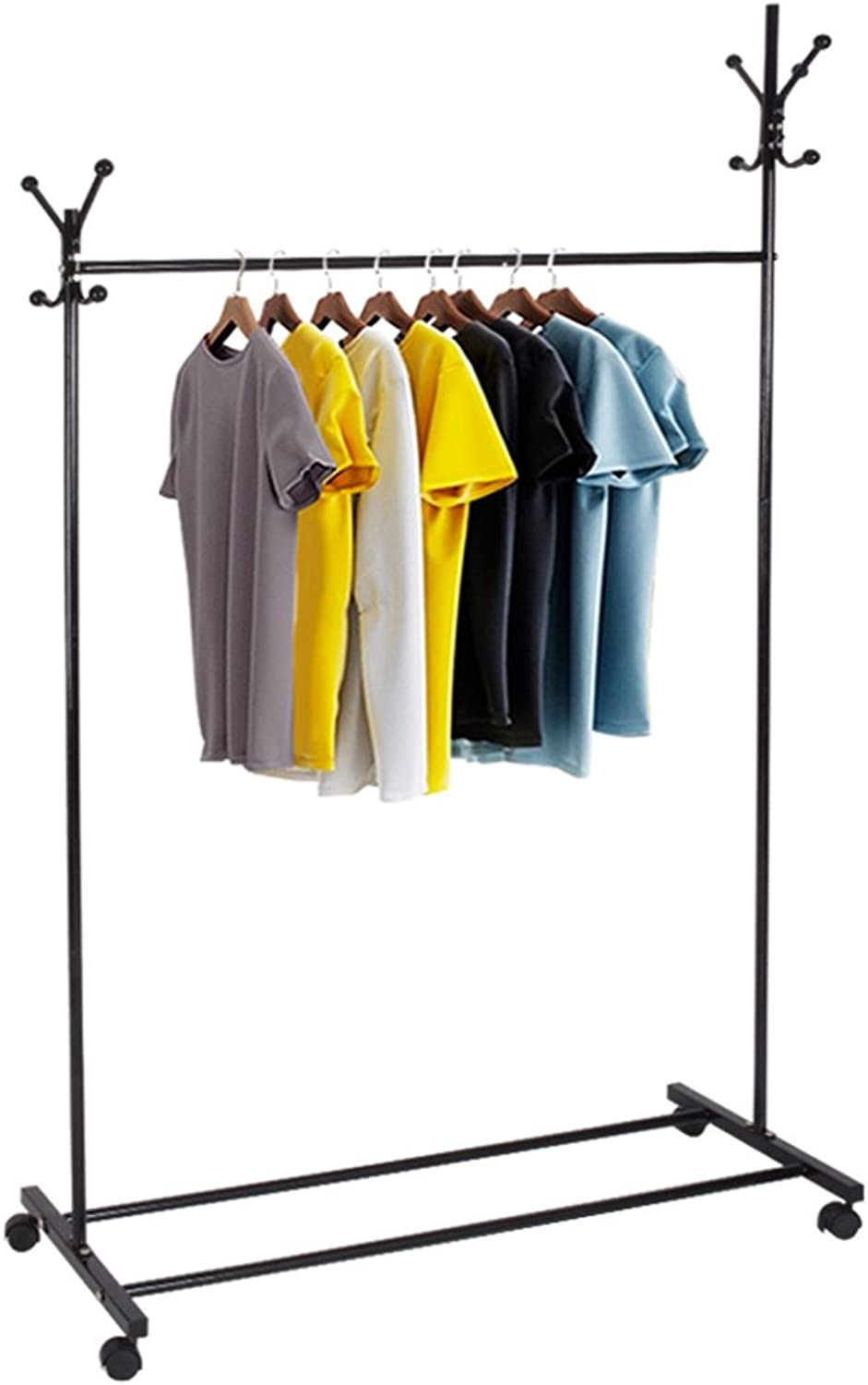 ZHIRONG Coat Rack 3 in 1 Multifunction Floor Type with Pulley Hangers 177  105CM (color   Black, Size   A)