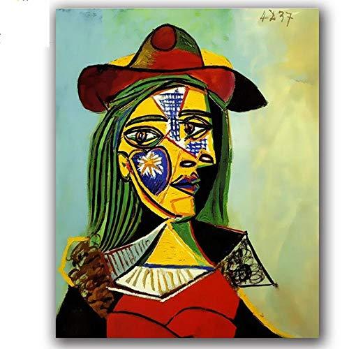Waofe Colorear bricolaje Pinturas por números Famosos cuadros abstractos de Picasso Cuadros por números Mujer con un sombrero Marco de bricolaje