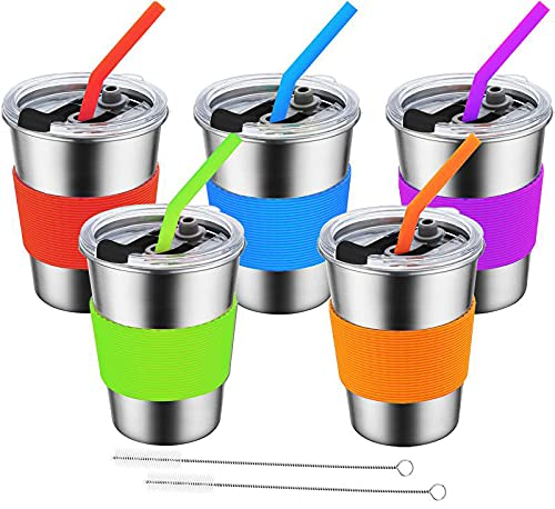 Stainless Steel Kids Cups with Lids and Straws, Leak Proof Toddler Cups, Unbreakable Kids Drinking Cups with Straws, Spill Proof Toddler Cups with Lids for Kids by Huzz ( 12oz , 5pack )