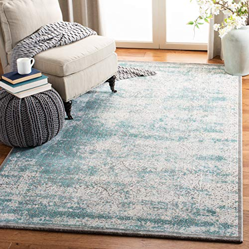 Safavieh Passion Collection PAS401B Vintage Medallion Watercolor Turquoise and Ivory Distressed Area Rug (4' x 5'7')