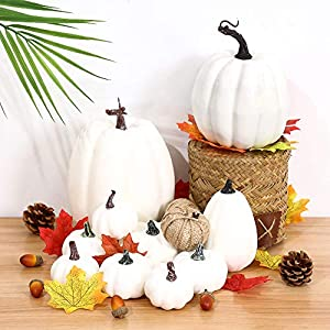AOLIGE 8 PCS Velvet Pumpkins Home Decoration for Halloween Thanksgiving Handmade Fall Harvest Embellishing and Displaying