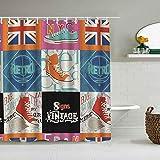 Kgblfd Cortina de Ducha Impermeable,Bandera británica del Reino Unido y Zapatos de Lona,Cortinas de baño de poliéster de diseño 3D con 12 Ganchos,tamaño 180 x 180cm