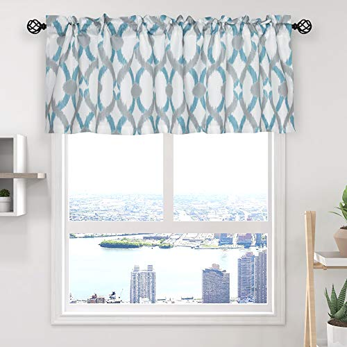 """oremila 2 Pack Kitchen Curtain Valance 54"""" x 15"""" Multicolor Geometric Window Valance for Kitchen and Bathroom, Rod Pocket, Teal/Gray"""