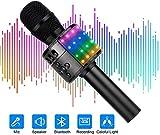 Microphone Sans Fil Karaoké, Ankuka Microphone Enfant Bluetooth Portable Lecteur Karaoké avec Lumières LED de Danse, pour Fête/KTV Chanter Cadeau de Noël (Noir)