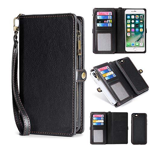 MInCYB Case for Apple iPhone 7 Plus, Flip Case iPhone 8 Plus, Magnetic Detachable Leather Wallet Case for iPhone 7 Plus/iPhone 8 Plus