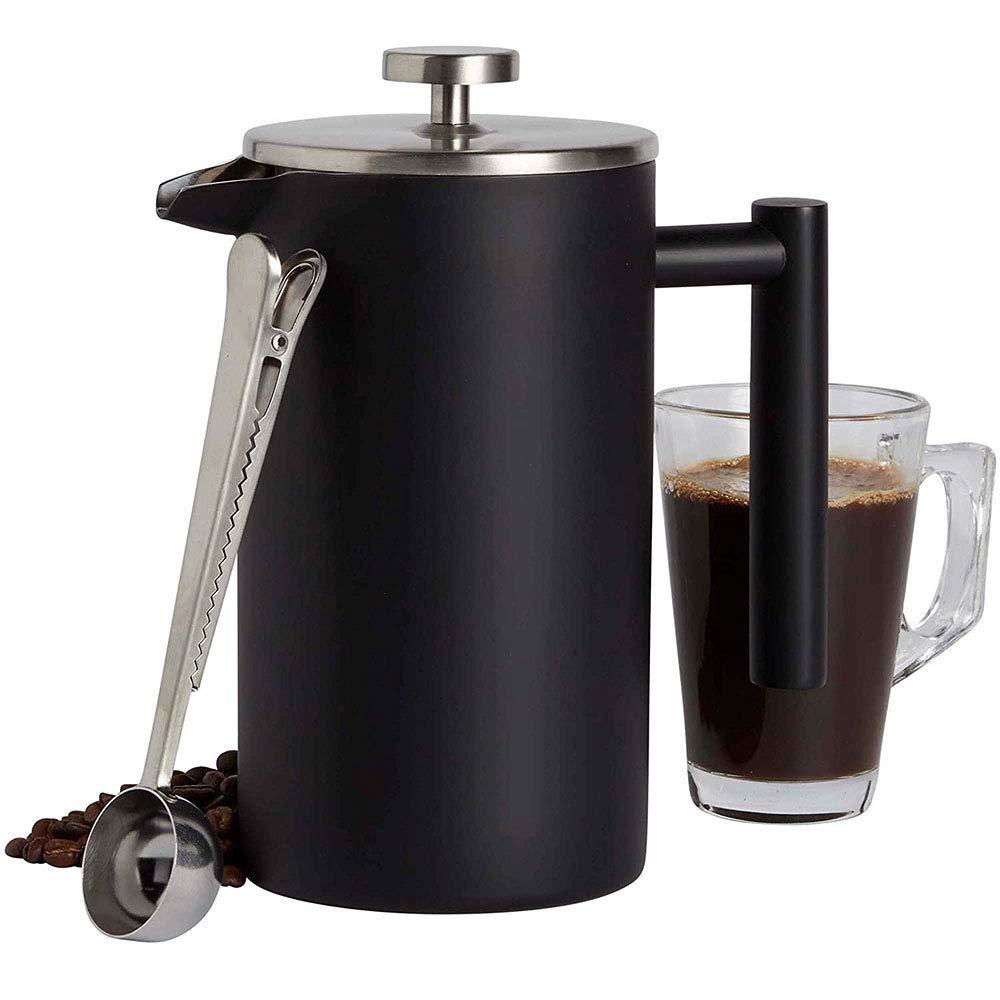 Acero Inoxidable 304 Olla de Espresso con Filtro Aislamiento Doble Té Agua Caliente 8 Tazas 1 littre Negro Mate: Amazon.es: Hogar