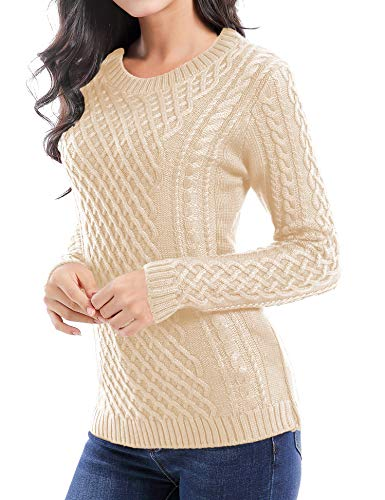 v28 Women Crew Neck Knit Stretchable Elasticity Long Sleeve Sweater Jumper Pullover (Small, Beige)