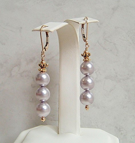 Lavender Light Purple Round Simulated Pearl Leverback Earrings Gold Filled