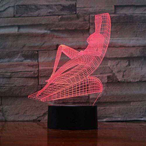 Liggen Stoel Zonnen Ontwerp Touch Tafellamp 7/16 Kleuren Veranderende Bureaulamp 3D LED Lamp Nieuwigheid Nachtverlichting USB Lich
