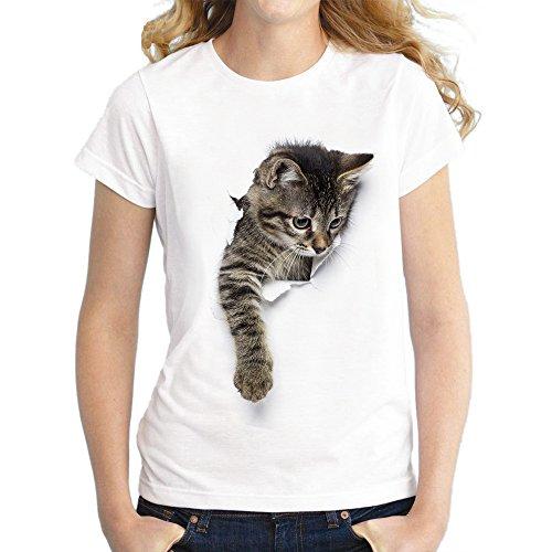 FLYFISH Femme Fille T-Shirt Col Rond Manches Courtes Motif Animal Licorne Chat pour Étudiant Été Automne (Cat02, M:34/36)