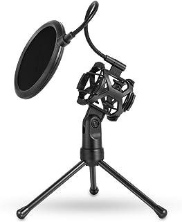 symboat Soporte de trípode de micrófono con el Filtro de Ruido Soporte de micrófono Soporte de Escritorio para de los Réunions de Causerie de Membrana Grande