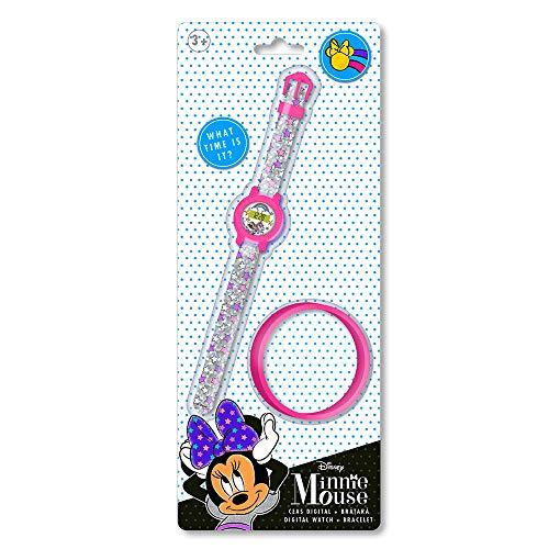 Disney - Reloj Digital y Pulsera de Silicona Minnie Mouse.Reloj para niñas Disney,el Regalo Ideal.Set Reloj Digital y Pulsera Minnie Mouse para niñas a Partir 3 años.Producto Oficial