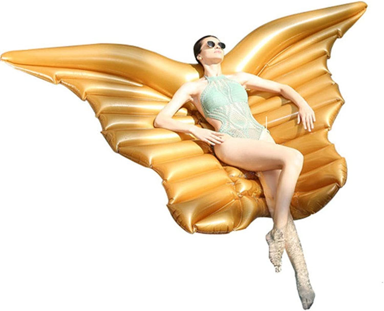 Large Inflatable Floating Row  Butterfly Swimming Ring  PVC Angel Wings Floating Drainage Inflatable Adult Floating Exhaust Pad ( color   gold )