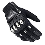 2020 Hot Motorcycle Motorbike Gloves Riding Motos Racing Screentouch Metal Armor Short Polyester (Black, L)
