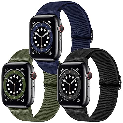 Younsea 3 Pack Solo Loop iWatch Cinturino in Nylon Comapatibile con Apple Watch 38mm 40mm 42mm 44mm, Cinturino di Ricambio Lo Sport in Elastico in Tessuto di Nylon per iWatch 6/SE/5/4/3/2/1