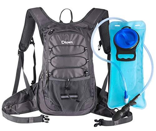 Dtown Mochila de hidratación con 2 litros de agua sin BPA, mochila de agua para senderismo, ciclismo, camping y correr, mantiene el líquido fresco hasta 4 horas (gris)